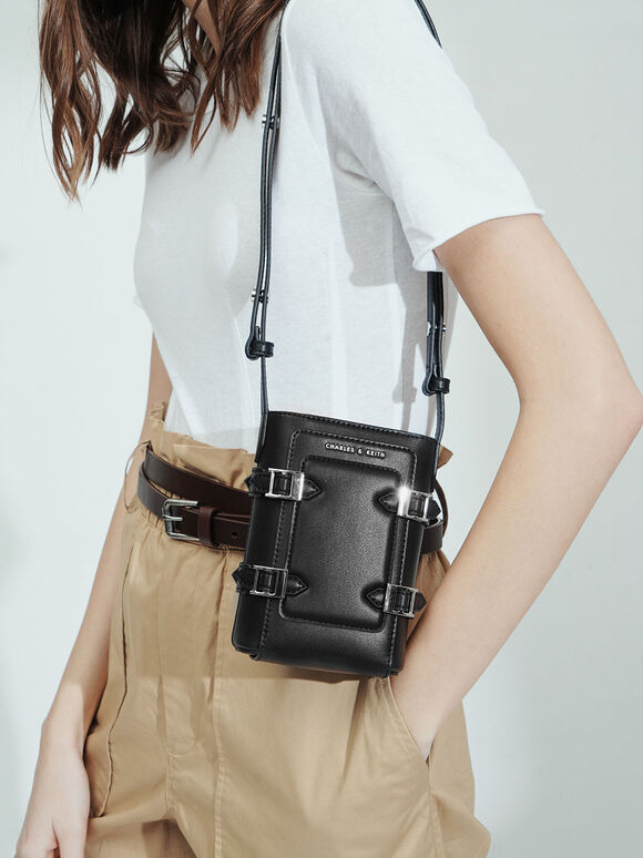 Small Buckle Bucket Bag, Black, hi-res