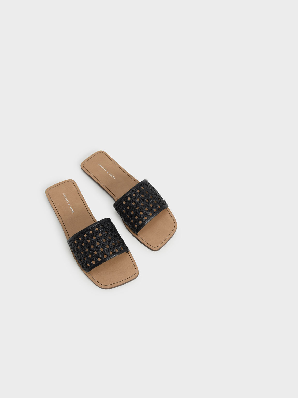 Woven Slide Sandals, Black, hi-res