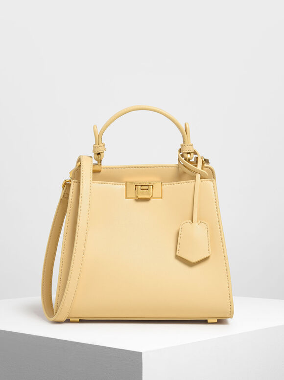 Classic Metal Detail Push Lock Bag, Yellow, hi-res