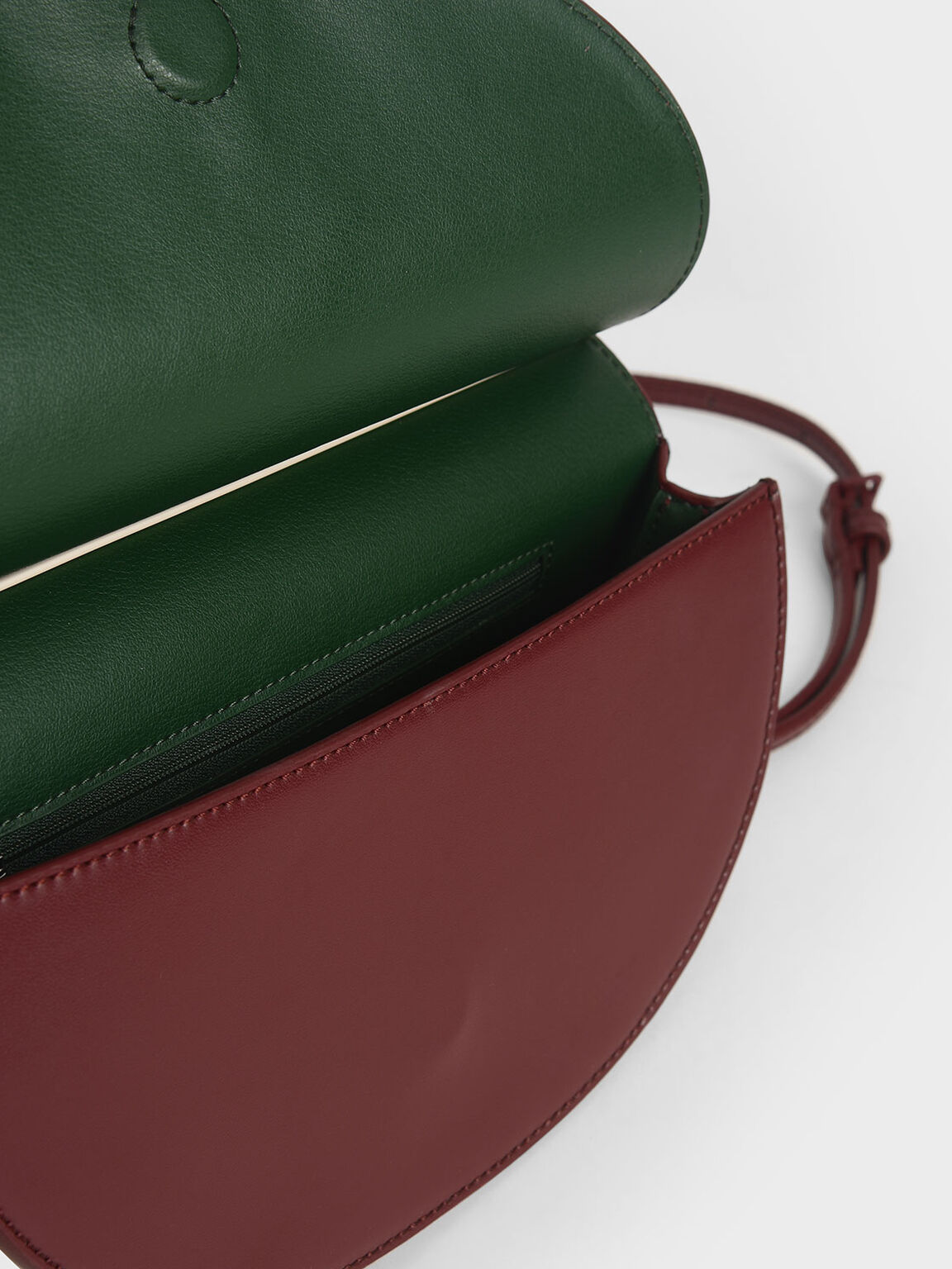 Two-Tone Half Moon Clutch, Maroon, hi-res