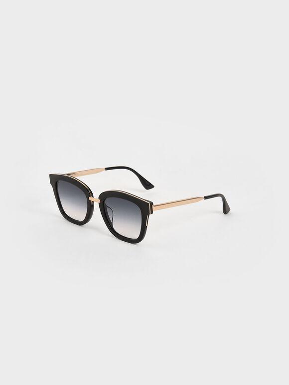 Acetate Wayfarer Sunglasses, Black, hi-res
