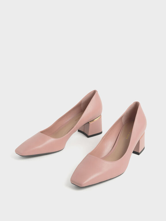 Metal Accent Block Heel Pumps, Nude