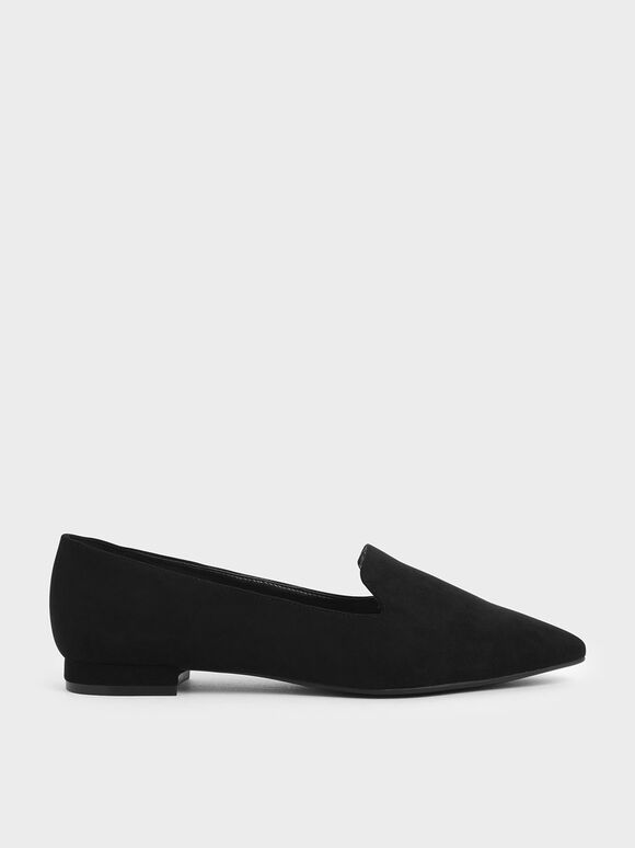 Textured Pointed Toe Loafer Flats, Black, hi-res