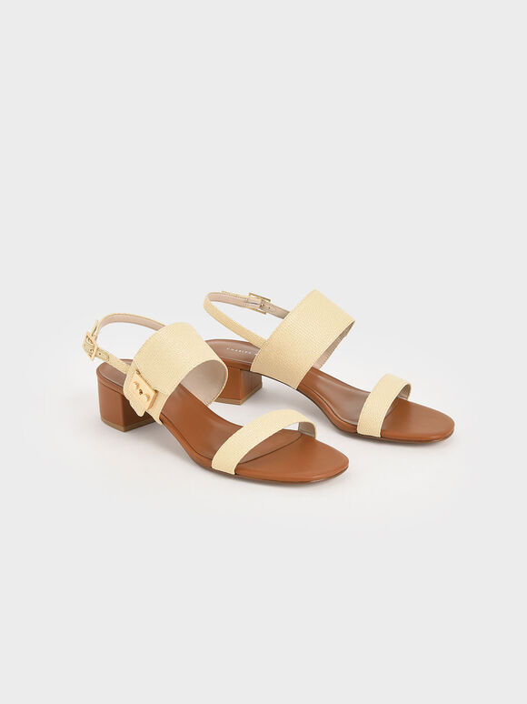 Raffia Buckle Strap Sandals, Sand, hi-res