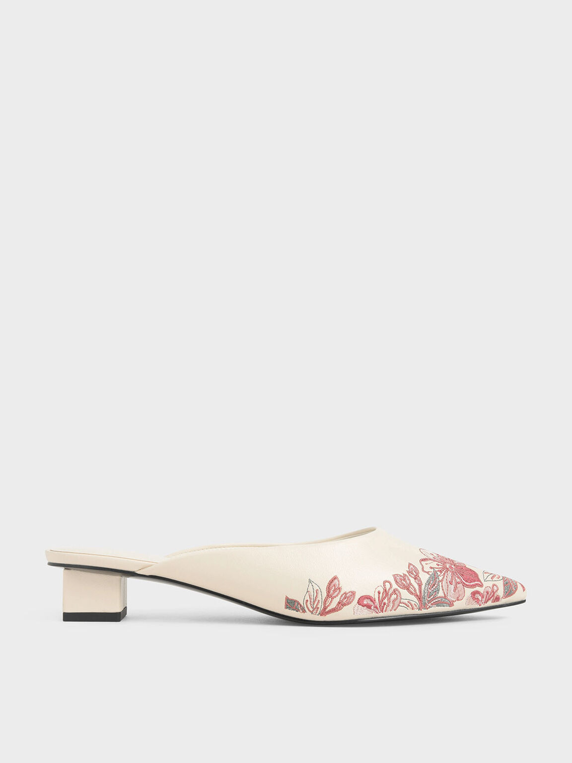 Embroidered Floral Mules, Cream, hi-res