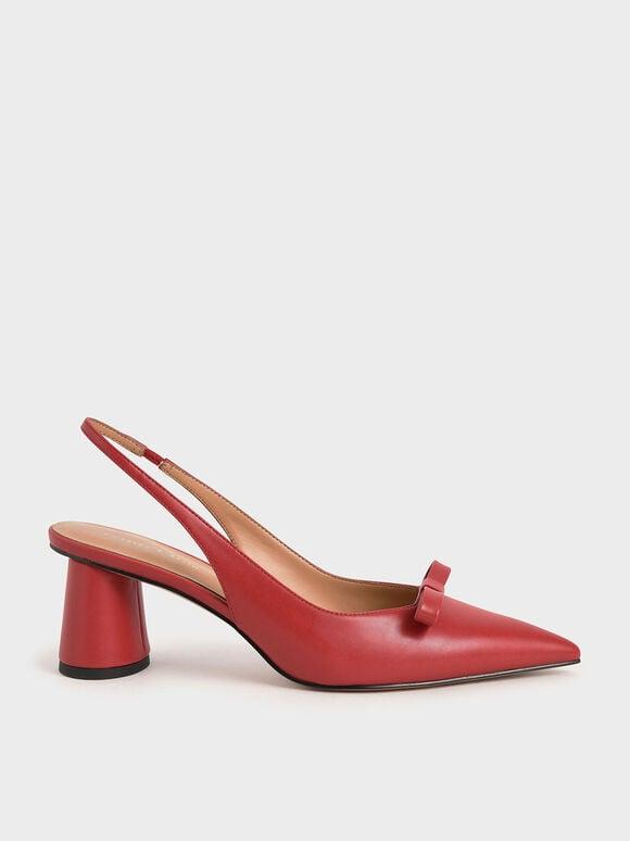 蝴蝶結後踝帶跟鞋, 紅色, hi-res