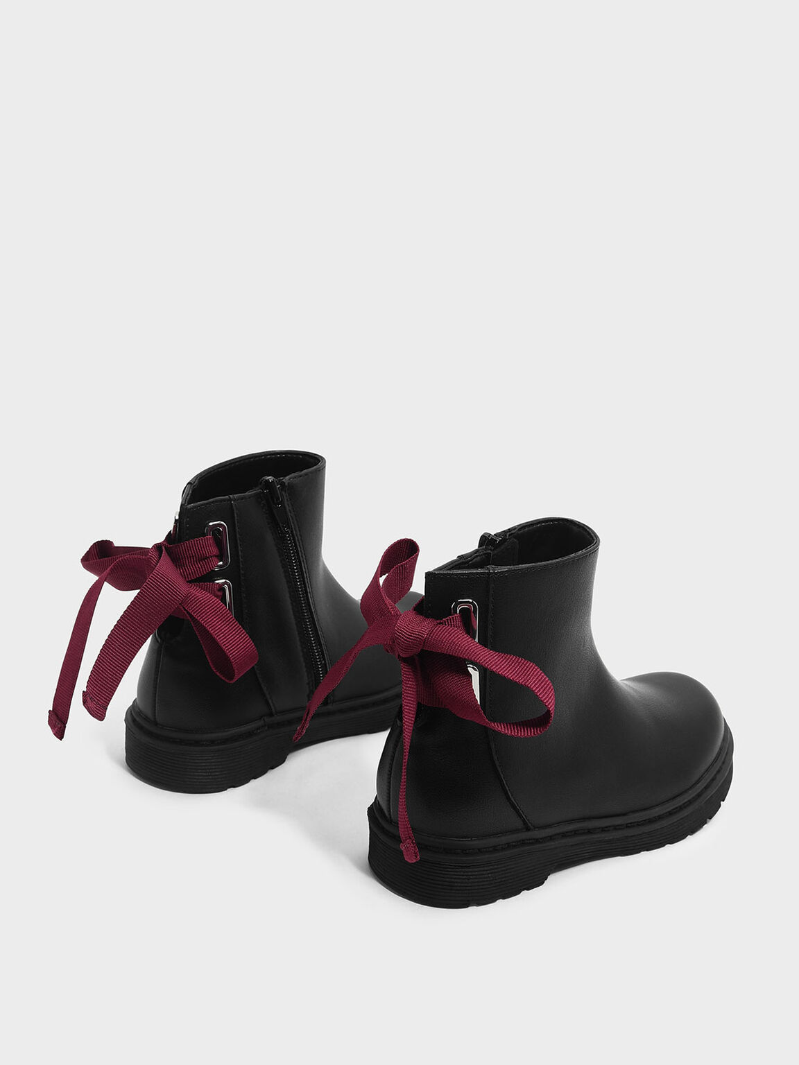 Kids Ribbon Detail Boots, Black, hi-res