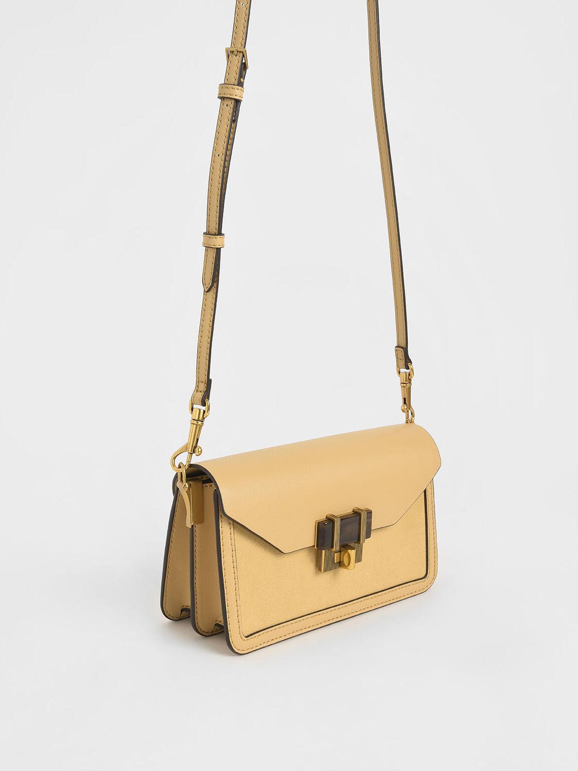 Stone-Embellished Envelope Bag, Yellow, hi-res