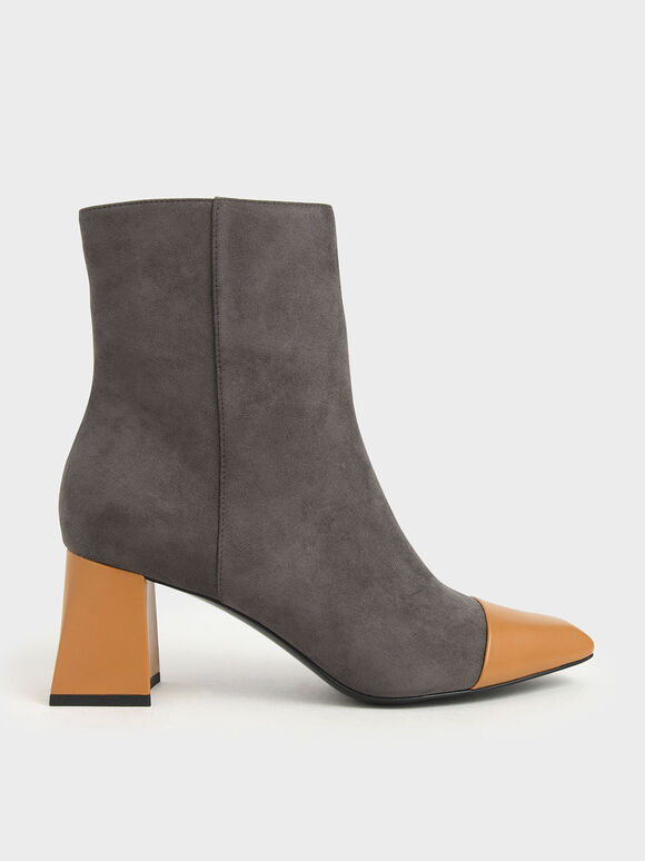 Two-Tone Textured Calf Boots, Dark Grey, hi-res