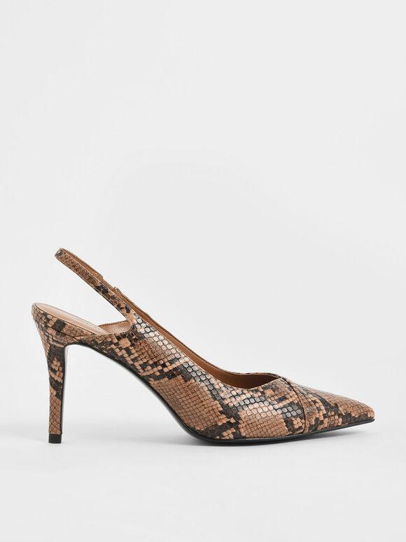 Snake Print Slingback Stiletto Pumps, Brown, hi-res