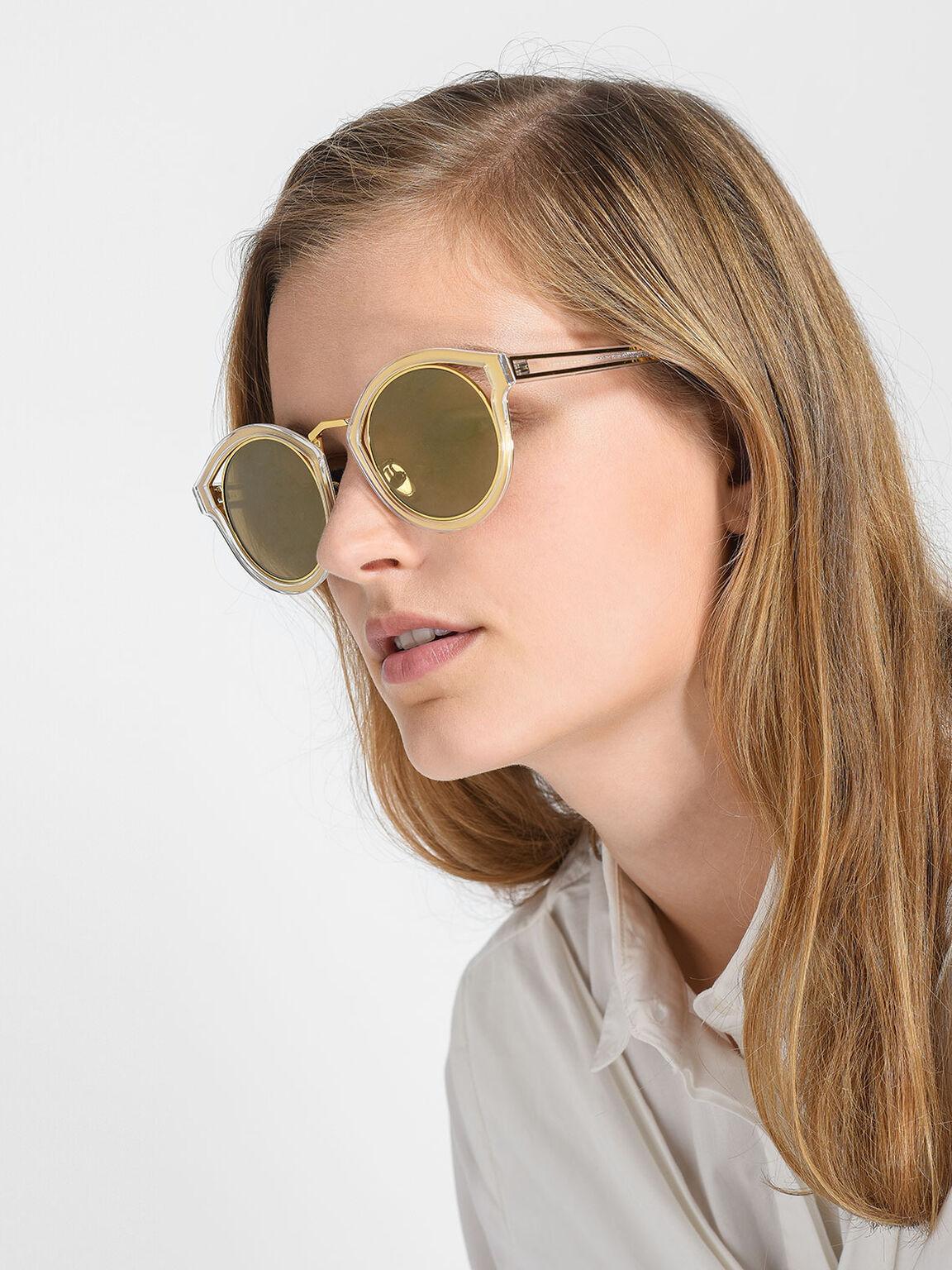 Round Thick Frame Sunglasses, White, hi-res