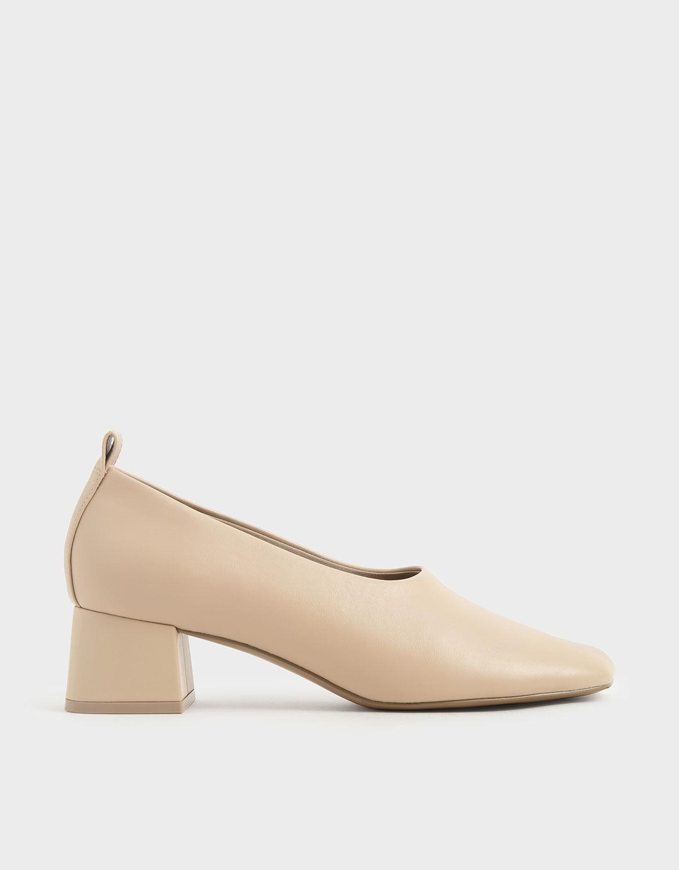 Beige Block Heel Round Toe Court Shoes