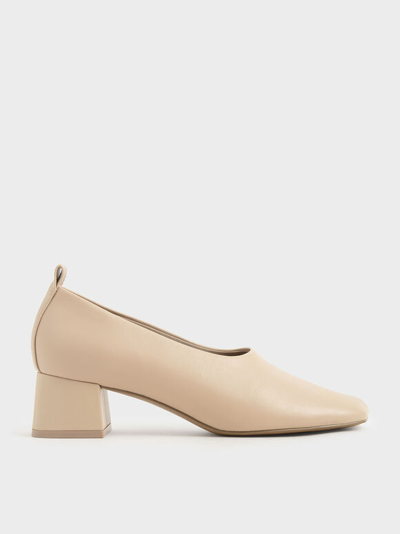 Block Heel Round Toe Pumps, Beige, hi-res