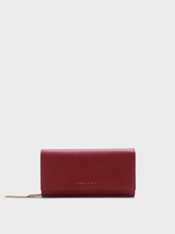 Tassel Long Wallet, Red, hi-res