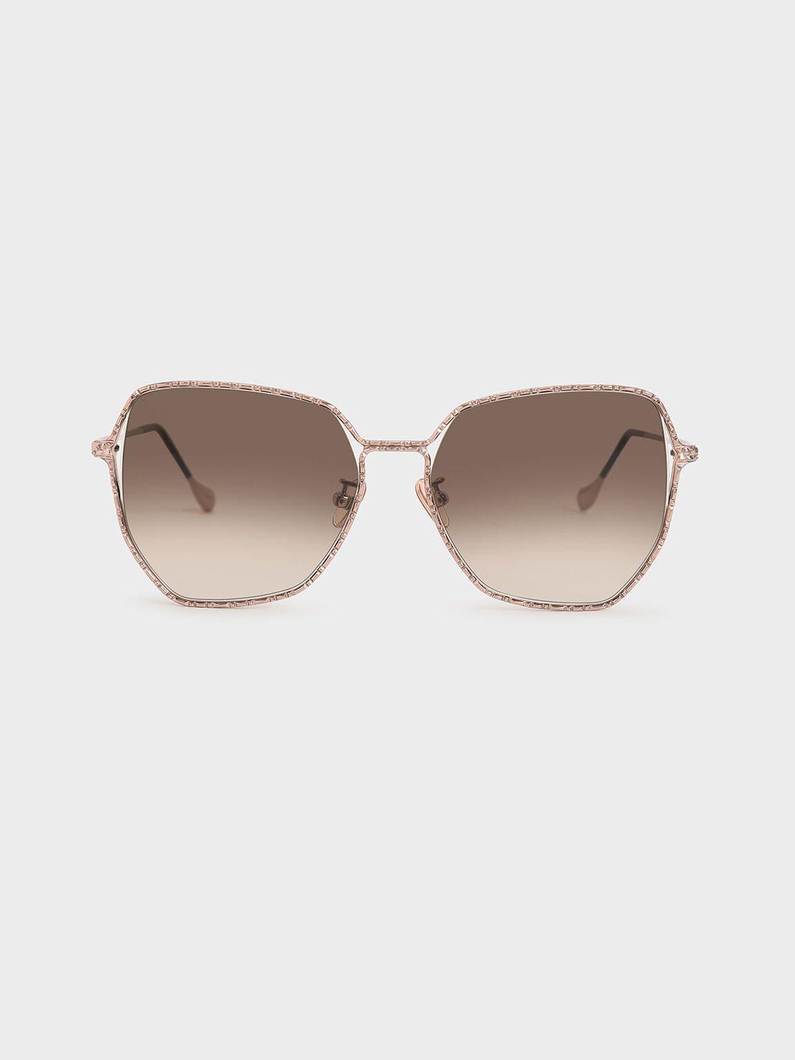 Metal Frame Butterfly Sunglasses, Rose Gold, hi-res