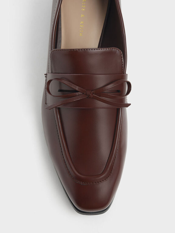 Bow Detail Loafers, Brown, hi-res