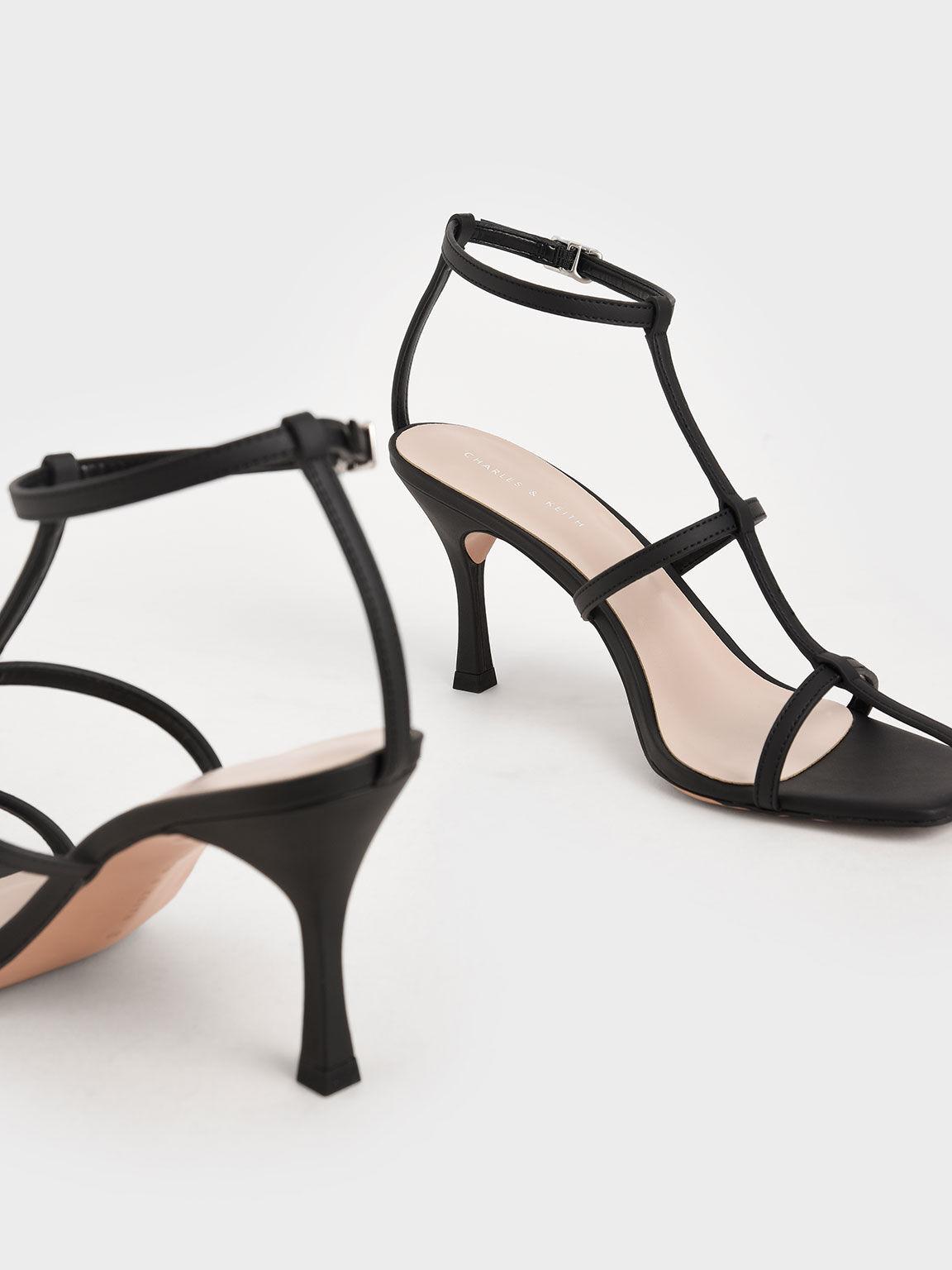 Caged Strappy Heeled Sandals, Black, hi-res