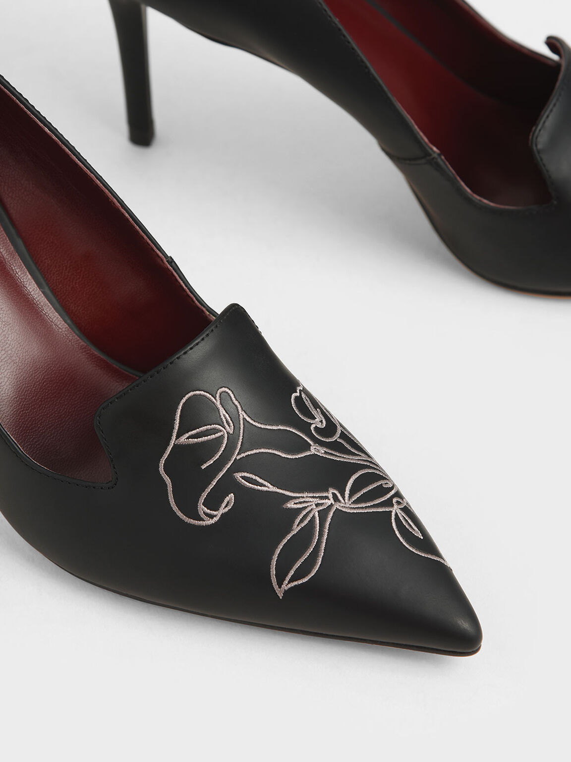 Floral Embroidered Stiletto Pumps, Black, hi-res