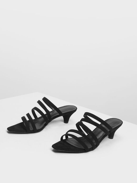Strappy Mules, Black