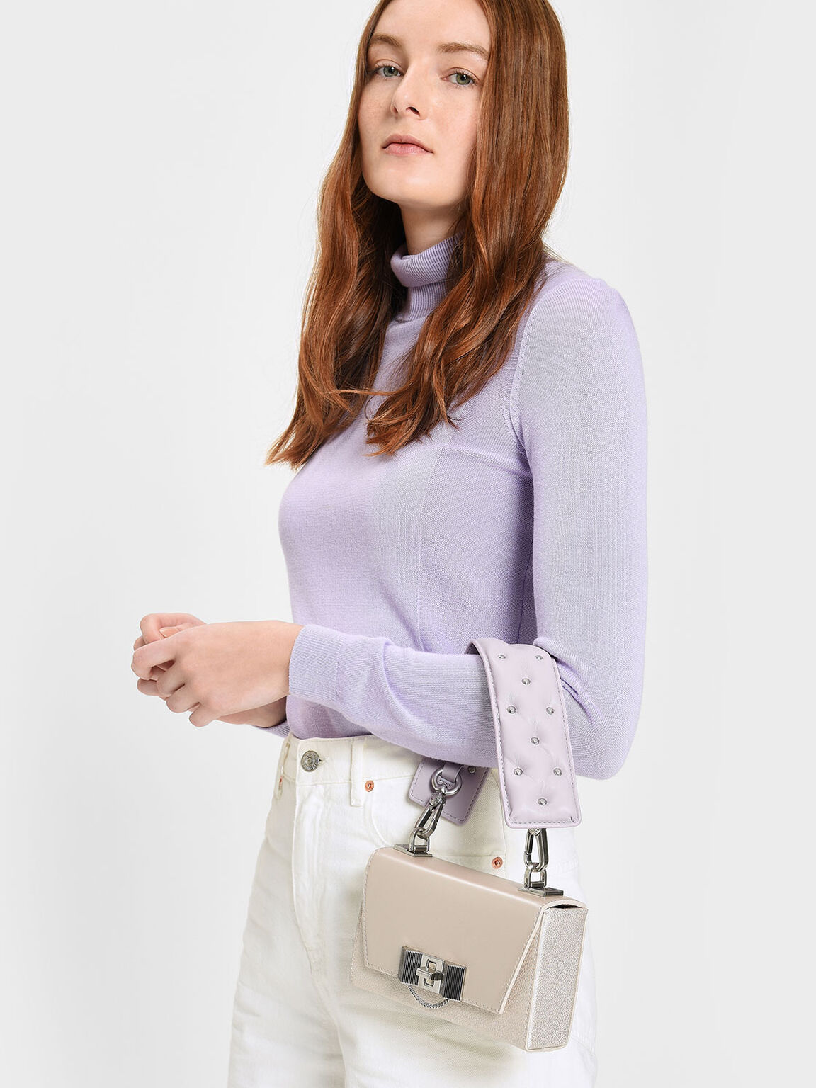 鉚釘短版背帶, 紫丁香色, hi-res