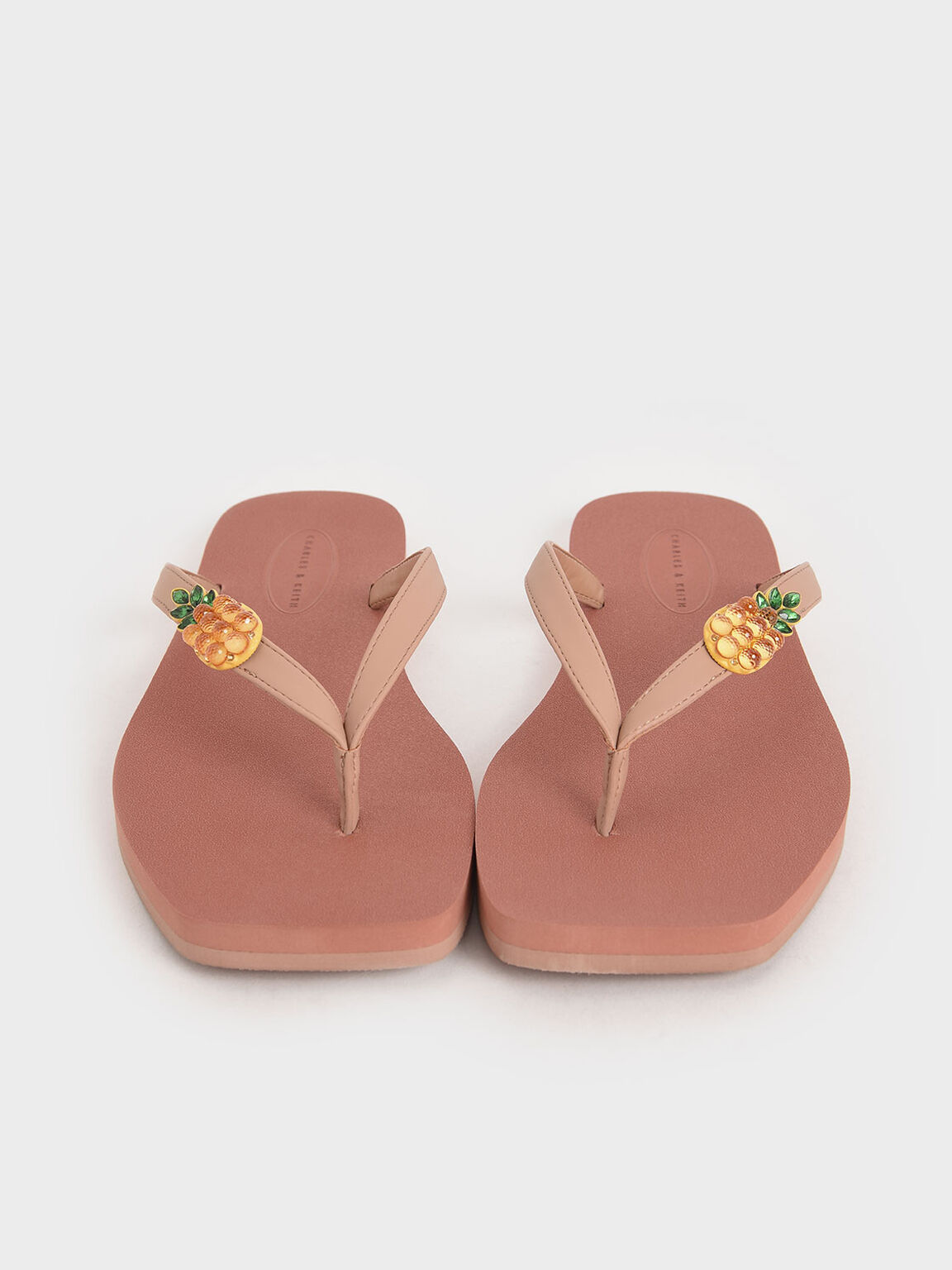 Embellished Thong Sandals, Nude, hi-res