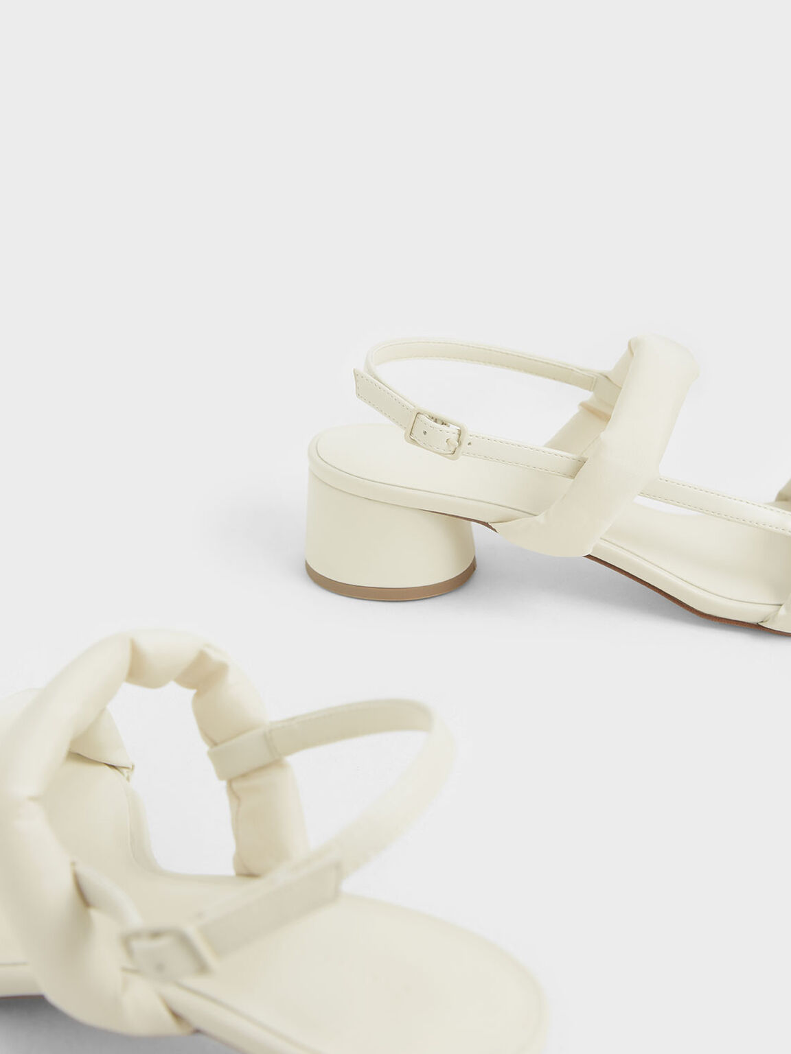 Puffy Strap Sandals, Cream, hi-res