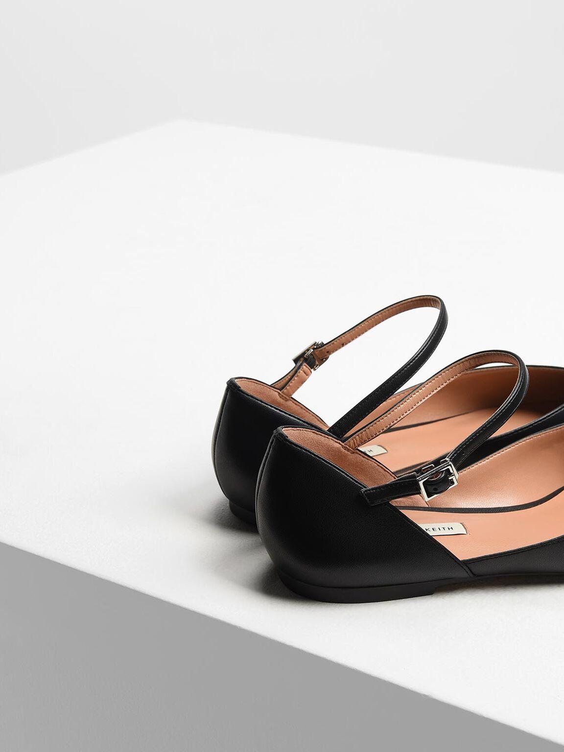 V-Top Mary Jane Flats, Black, hi-res