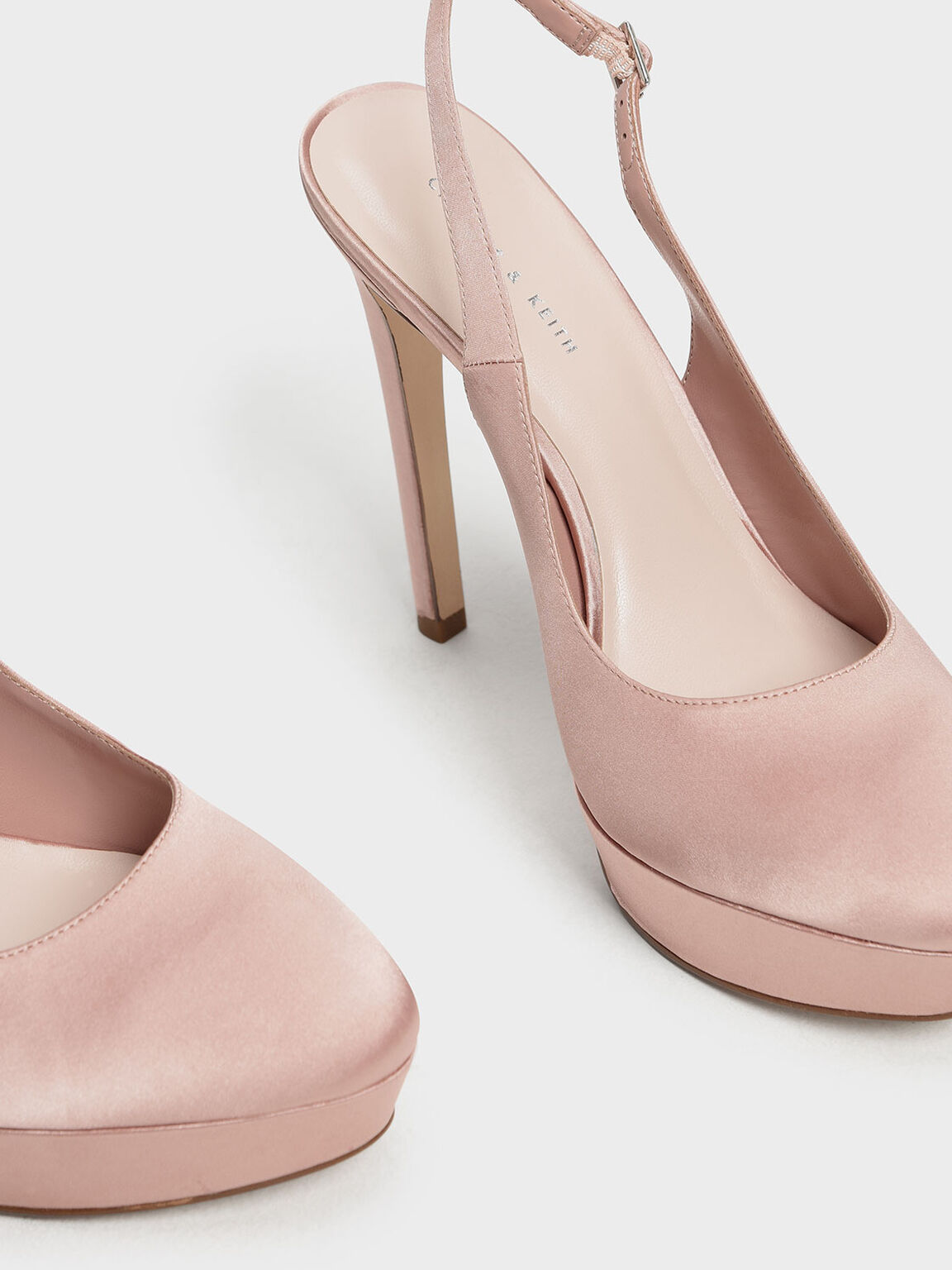 Slingback Platform Heels, Nude, hi-res