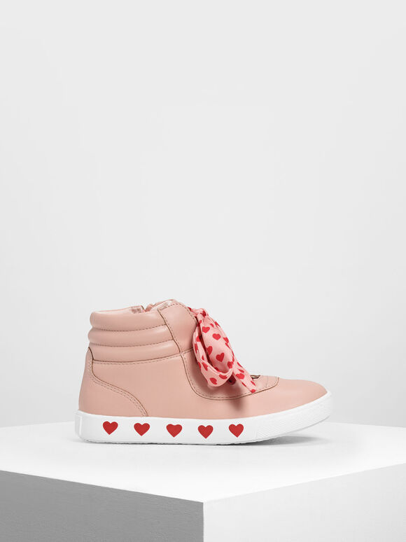 Kids' Heart Print High-Top Sneakers, Pink, hi-res