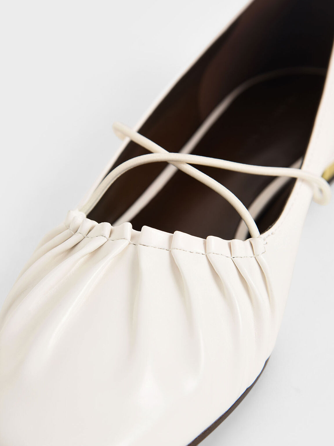 Criss-Cross Ruched Ballerina Flats, White, hi-res