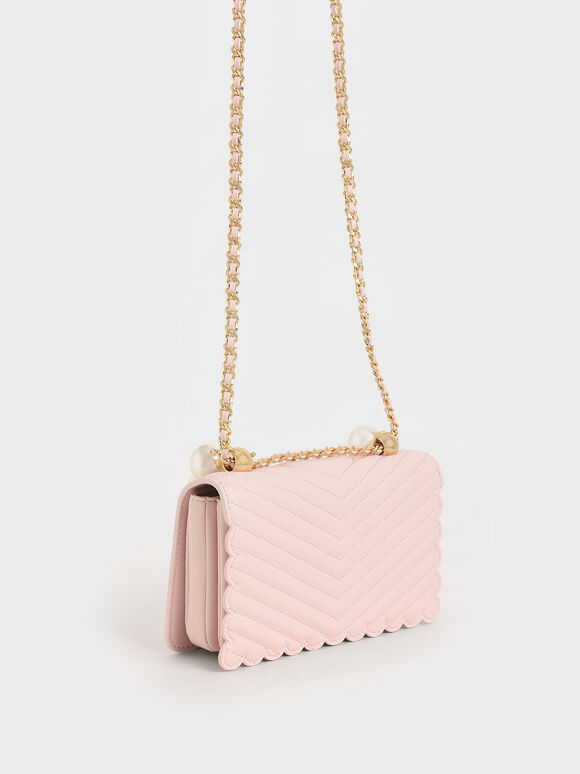 Beaded Handle Crossbody Bag, Pink, hi-res