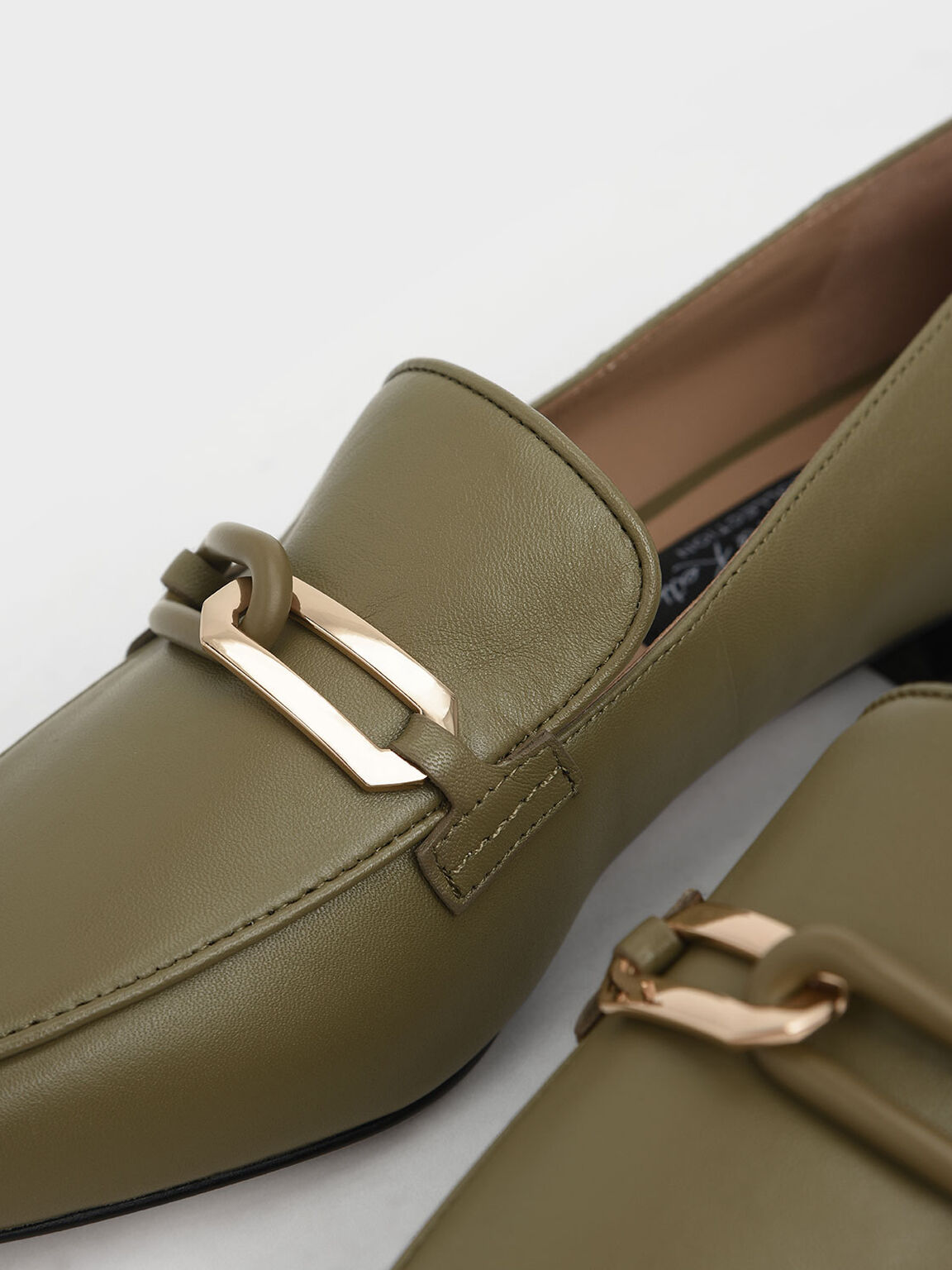 Embellished Leather Loafers, Sage Green, hi-res