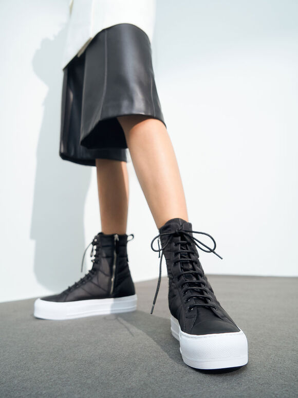 Quilted High Top Sneakers, Black, hi-res