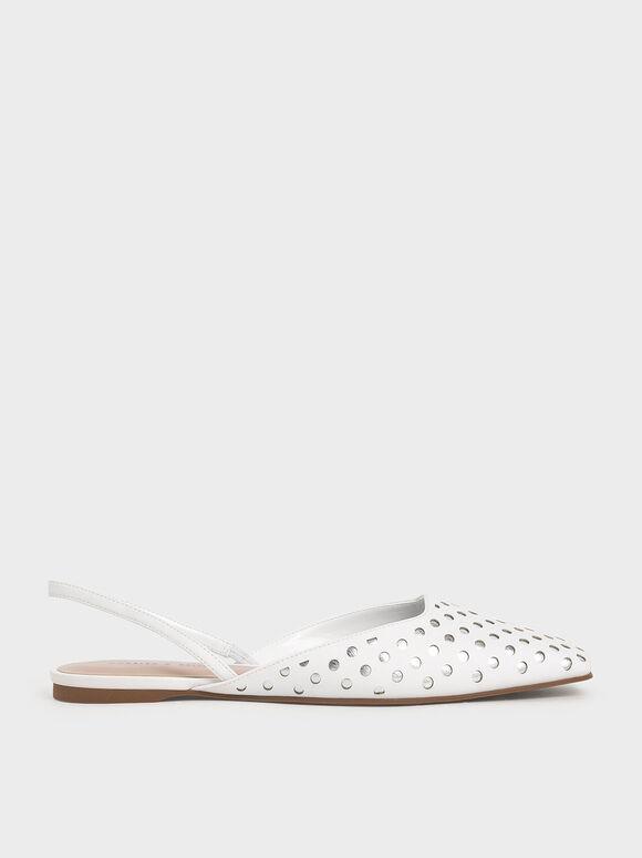 點點平底鞋, 白色, hi-res