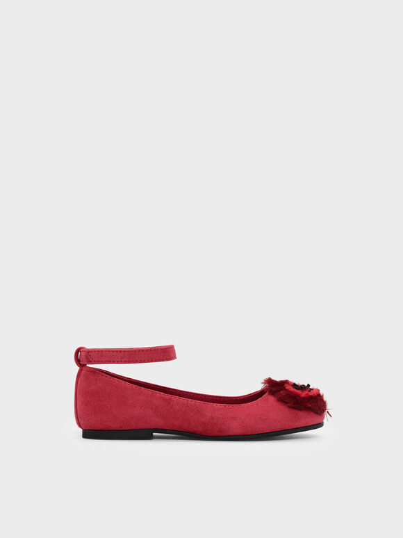 Kids Furry Floral Flats, Red, hi-res