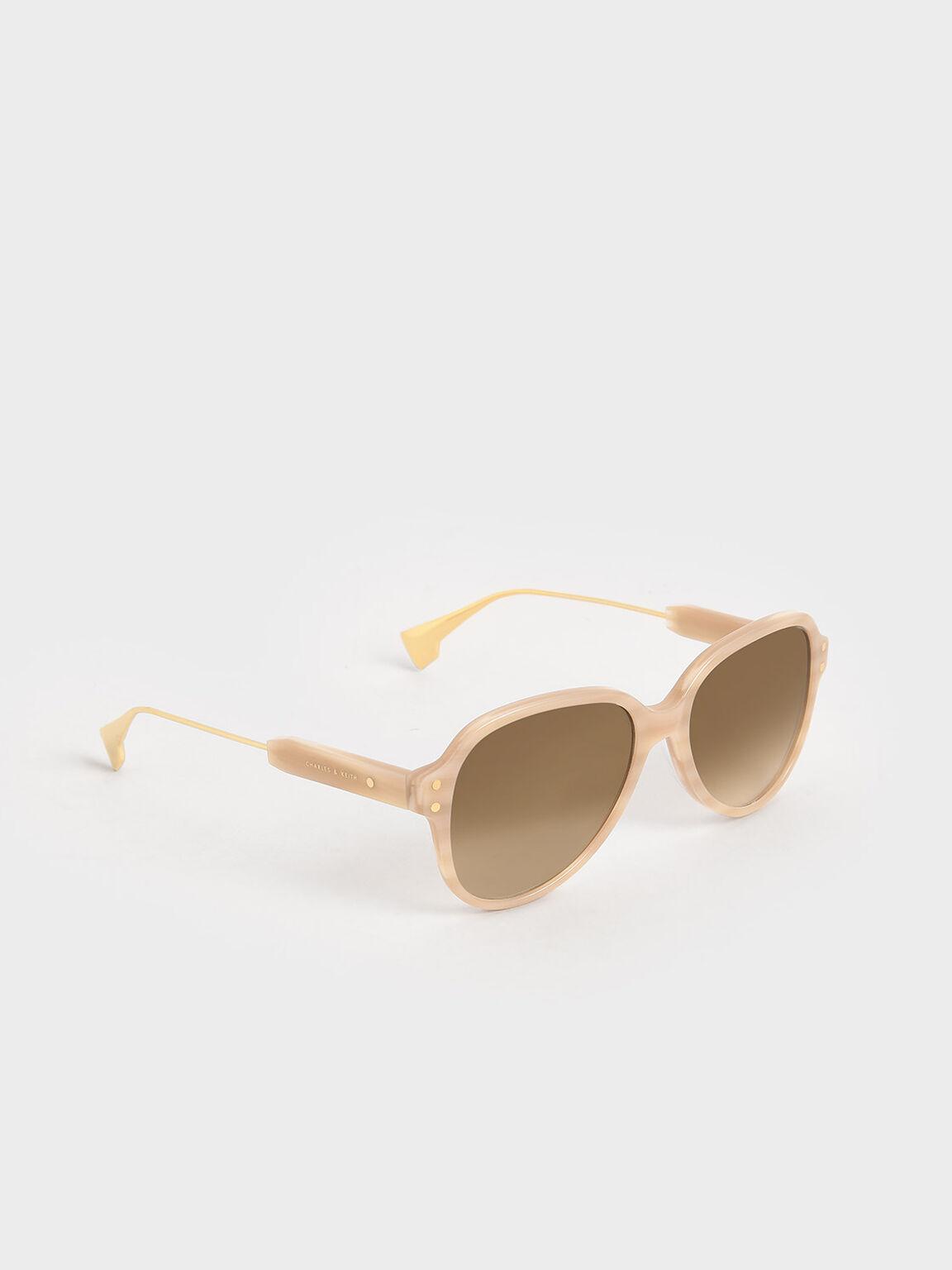 Acetate Aviator Sunglasses, Taupe, hi-res