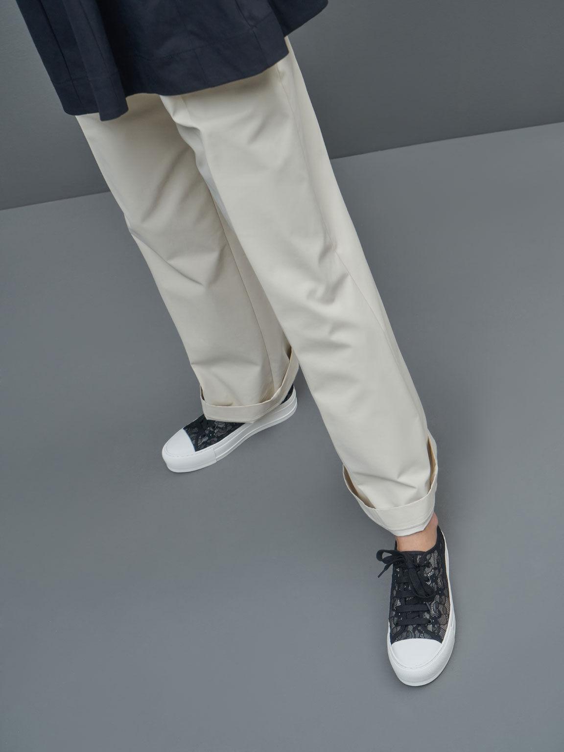 Lace Low-Top Sneakers, Black, hi-res