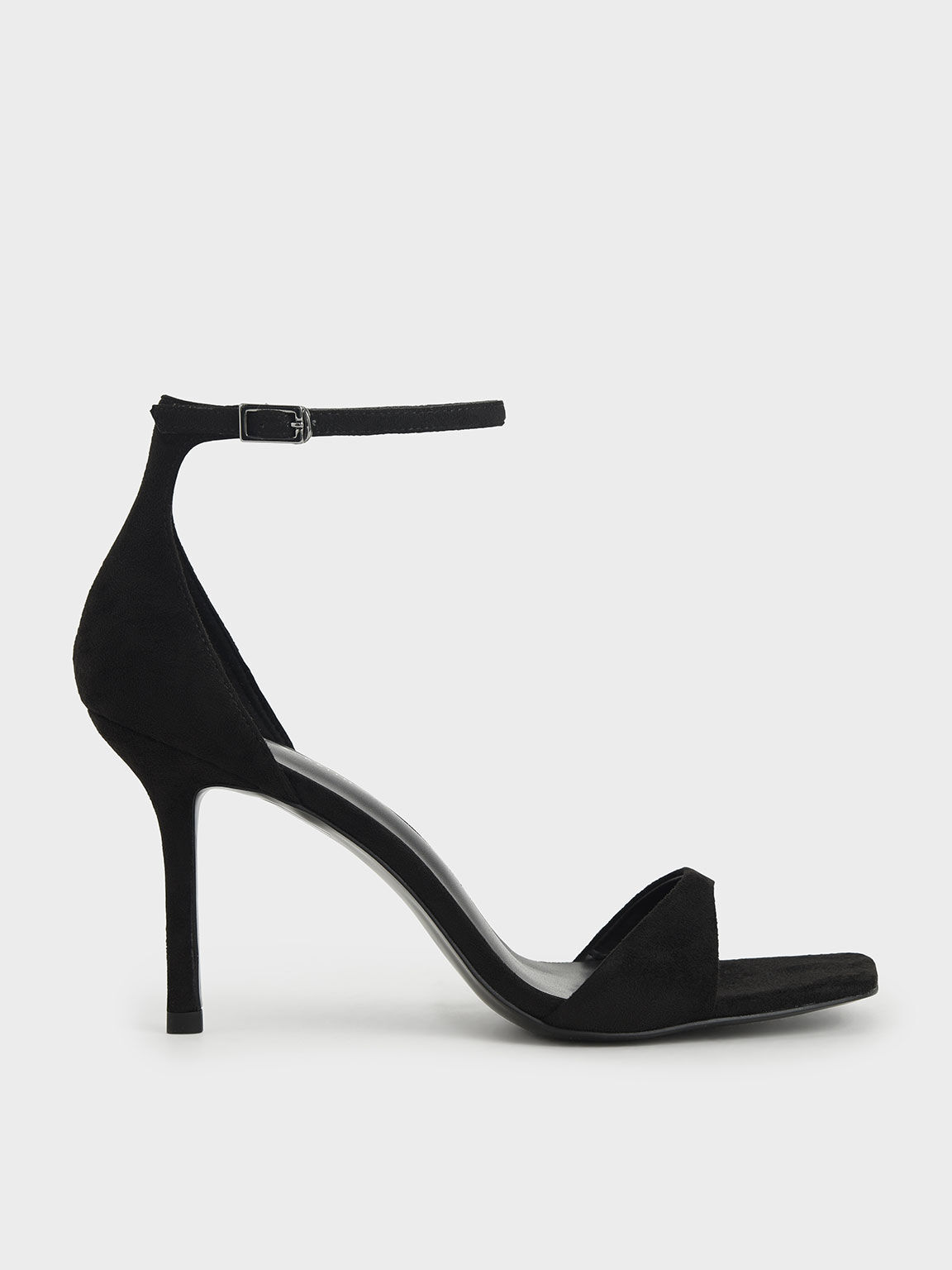 Textured Ankle Strap Heeled Sandals, Black, hi-res