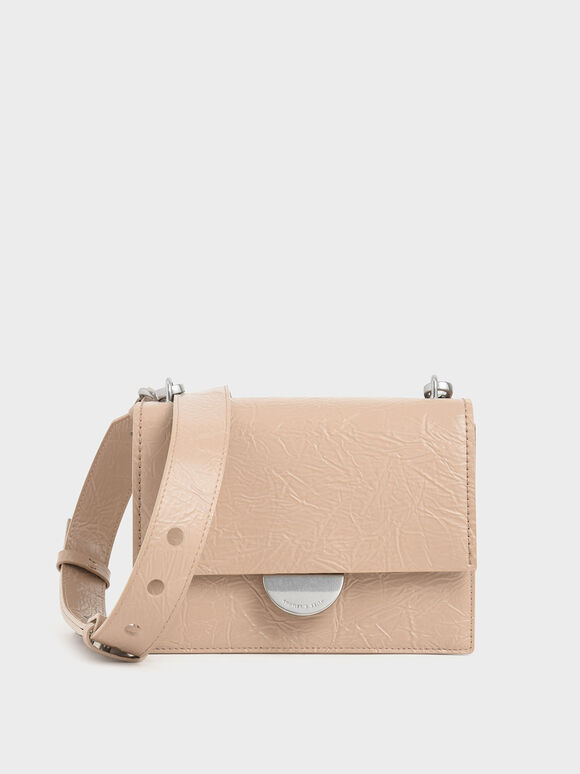 Round Metal Accent Wrinkled Effect Bag, Beige, hi-res