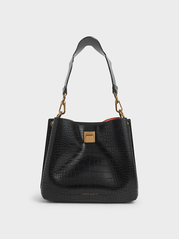 Croc-Effect Bucket Shoulder Bag, Black, hi-res