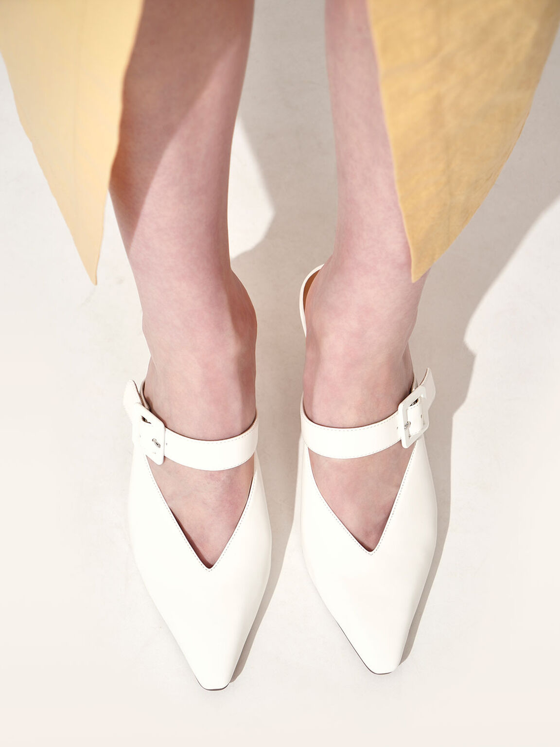 Mary Jane Strap Stiletto Mules, White, hi-res