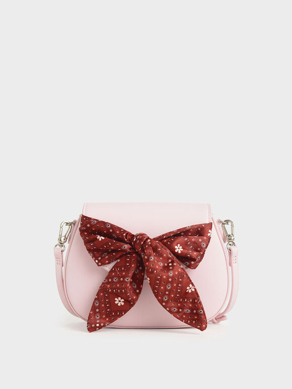 Summer 2020 Responsible Collection: Girls' Bandana Print Bow Crossbody Bag, Pink, hi-res