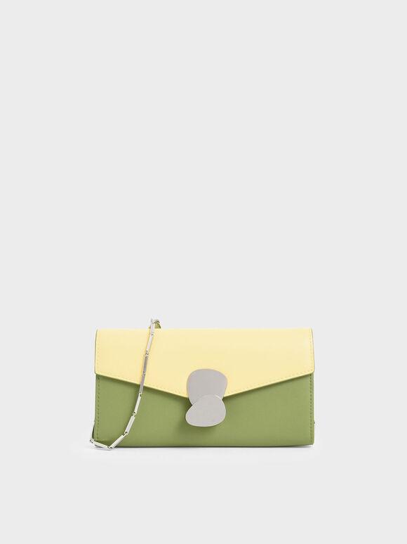 Mini Two-Tone Metal Push Lock Wallet, Green, hi-res