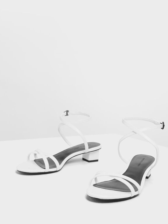 Criss Cross Low Heel Sandals, White