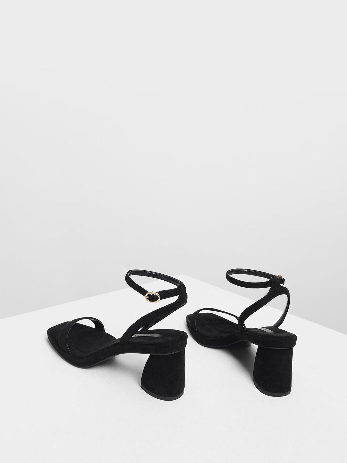 Ankle Strap Platform Sandals, Black, hi-res