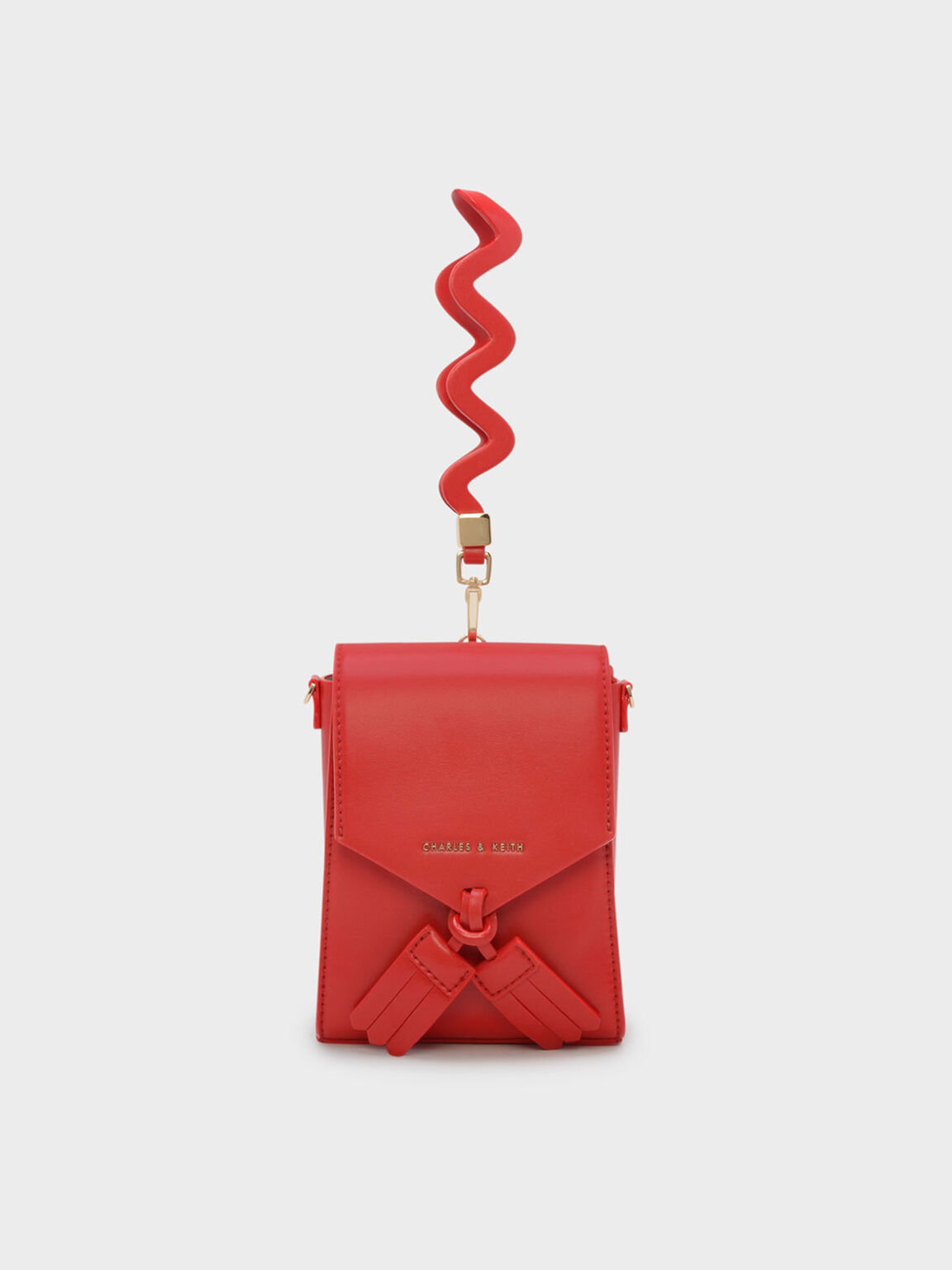 Tassel Detail Clutch, Red, hi-res