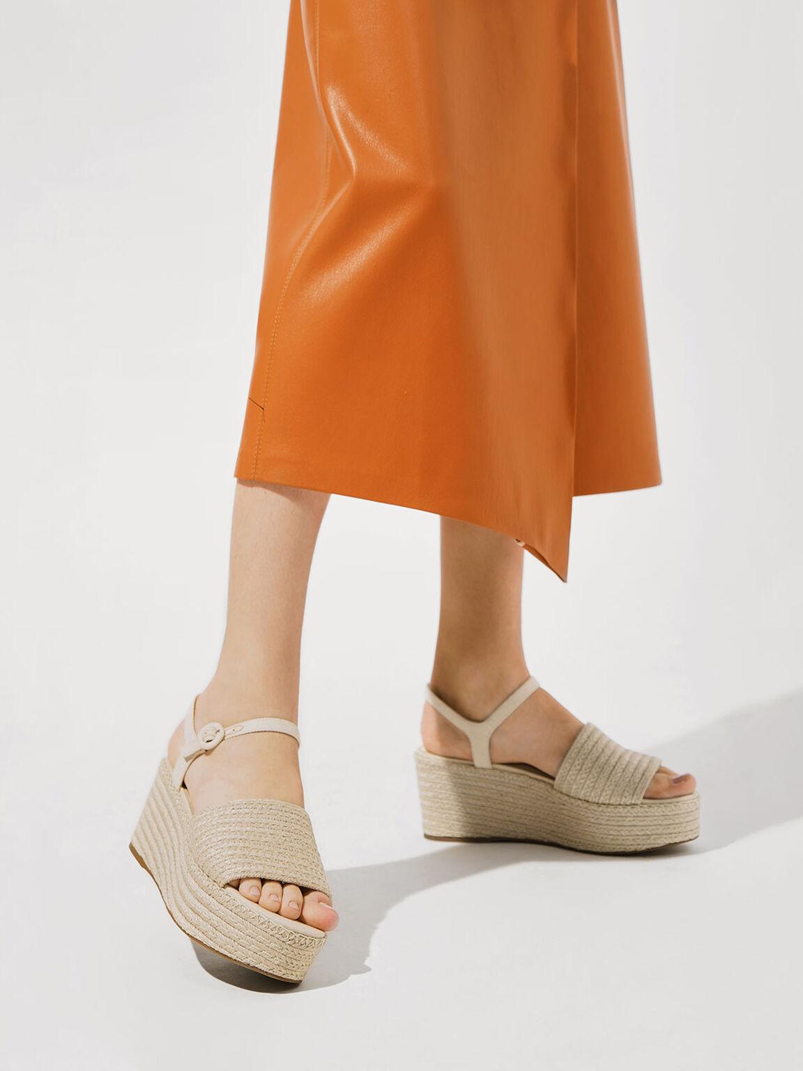 Espadrille Platform Sandals, Cream, hi-res
