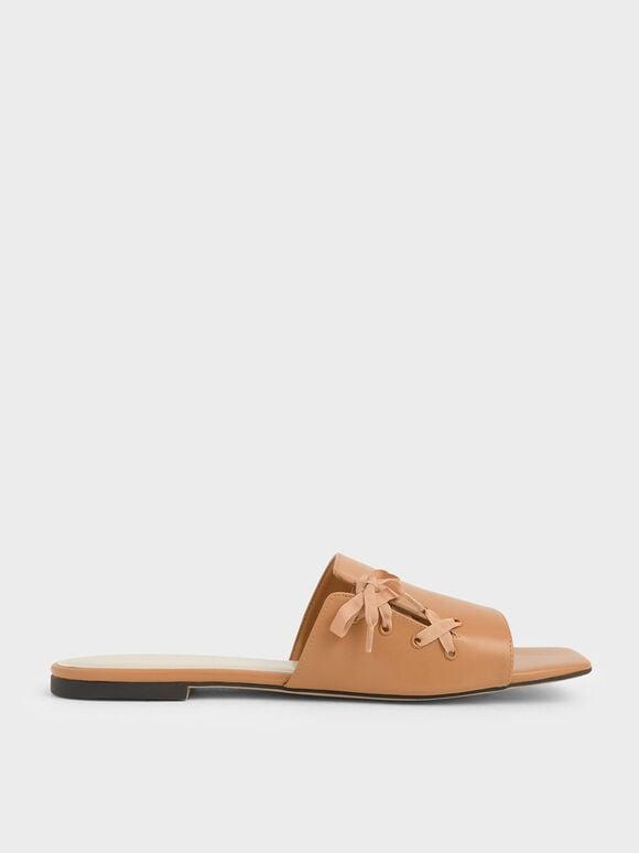 綁帶方頭拖鞋, 橘色, hi-res