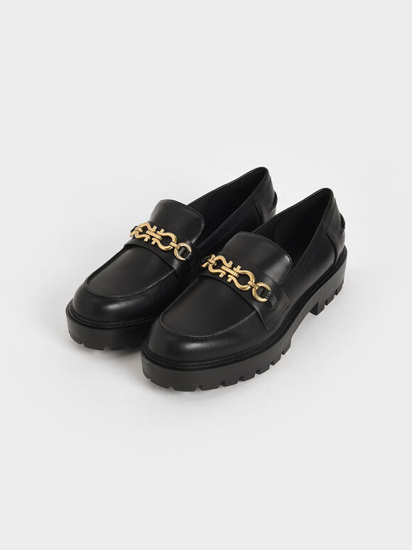 Metallic Accent Chunky Loafers, Black, hi-res