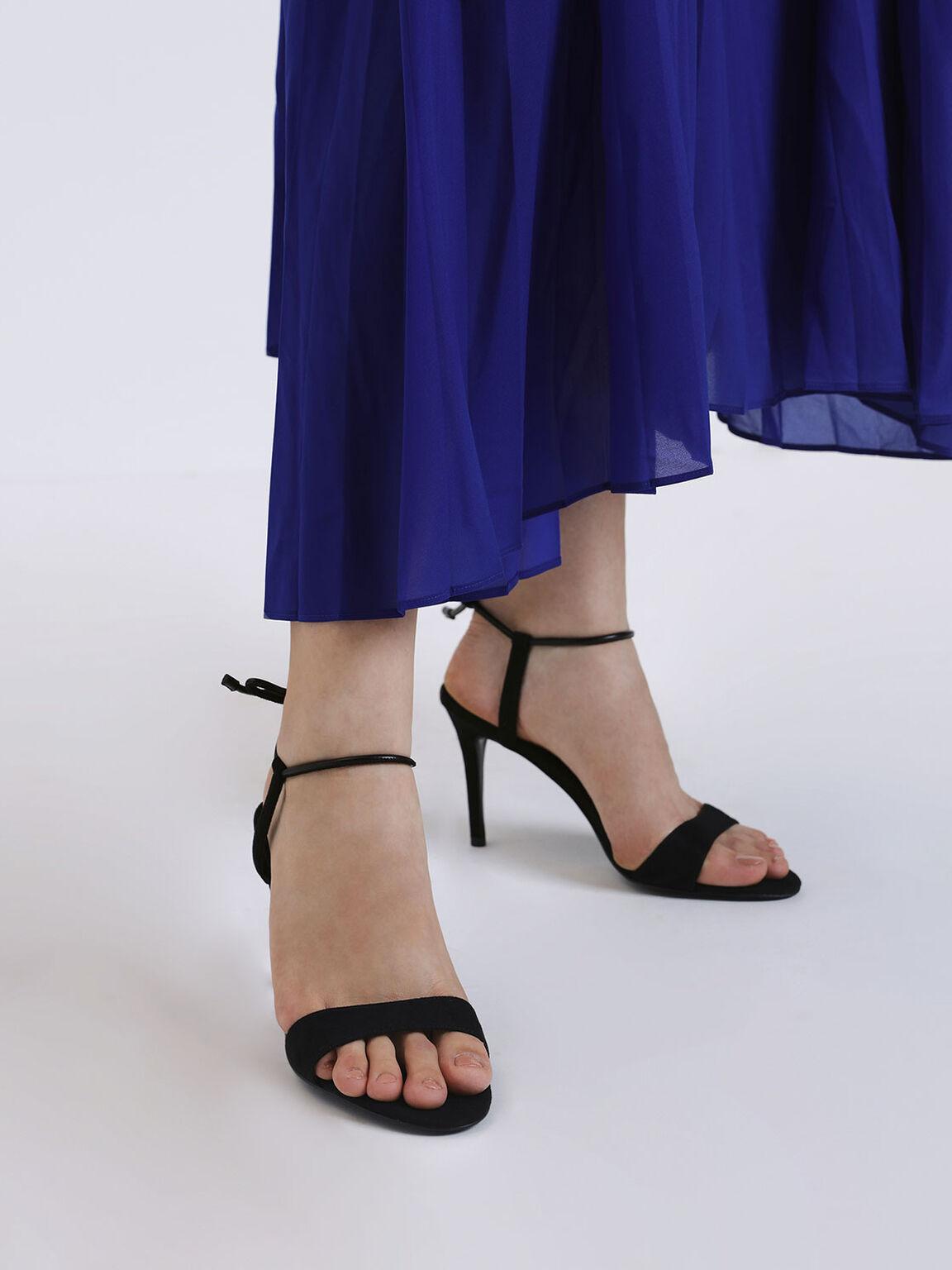 綁帶細跟涼鞋, 黑色, hi-res